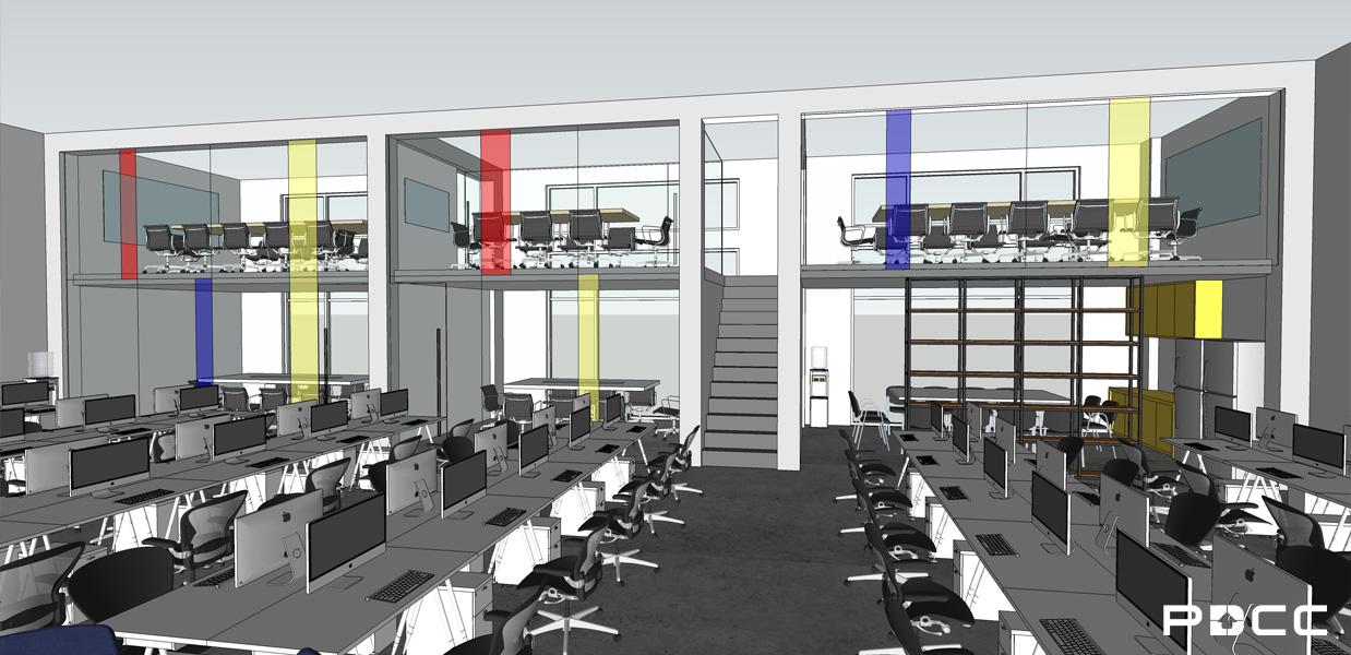欢尚电子商务办公室员工区设计图-PDCC办公室装修图片