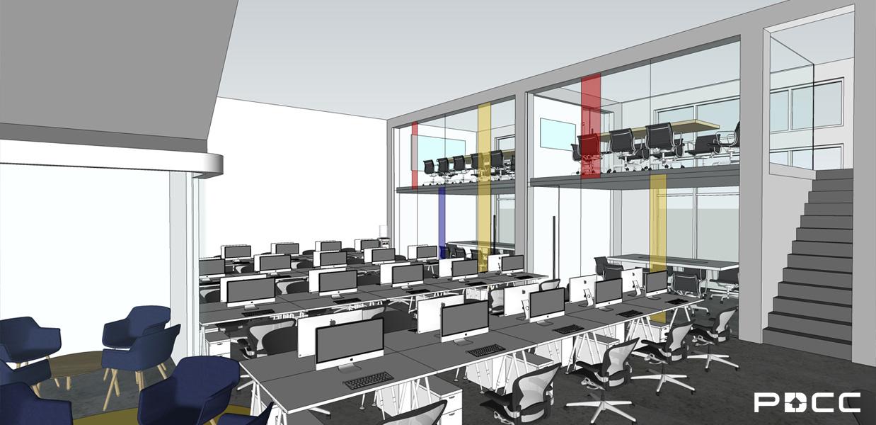 欢尚电子商务办公室员工区设计图片-PDCC办公室装修图片