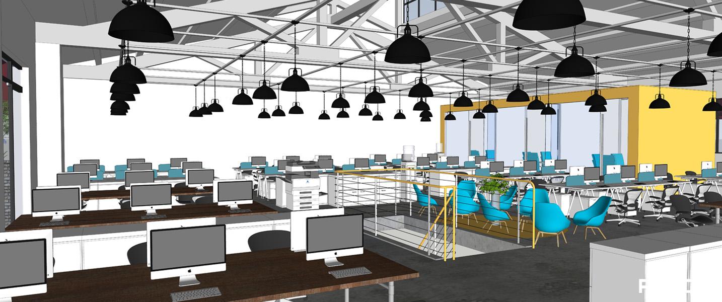 欢尚电子商务办公室办公区装修效果图-PDCC办公室装修图片