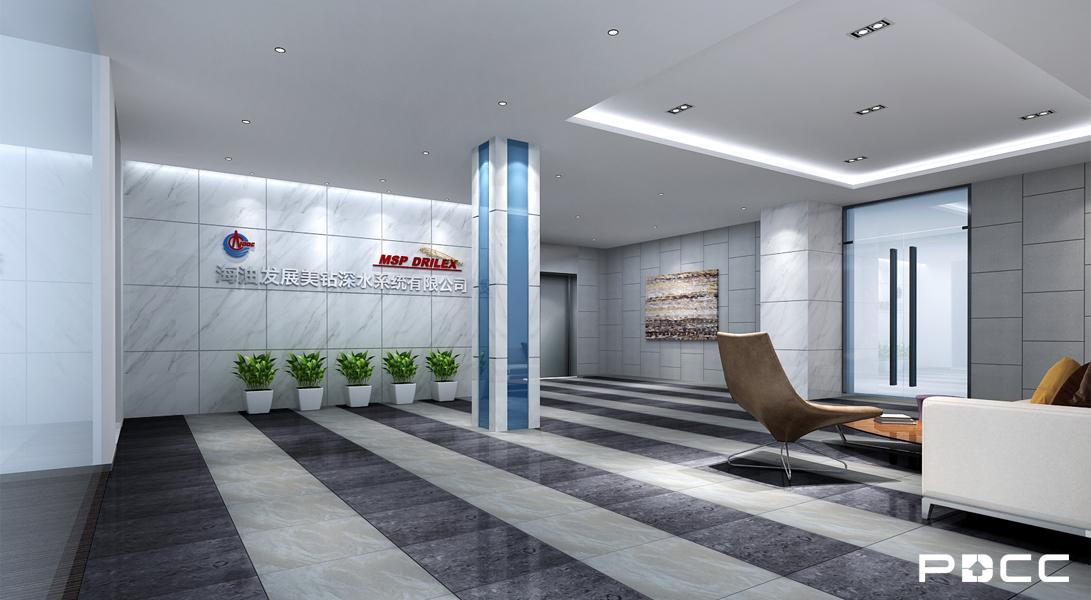 美钻石油办公室装修前台实景图-PDCC办公室装修图片