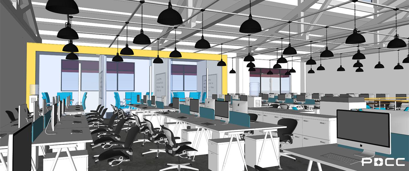 欢尚电子商务办公室办公区设计图-pdcc办公室装修图片